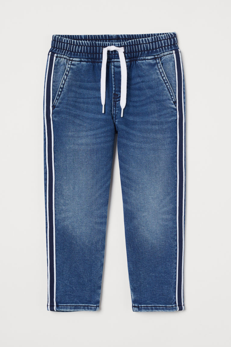 H & M - 側條紋丹寧慢跑褲 - 藍色