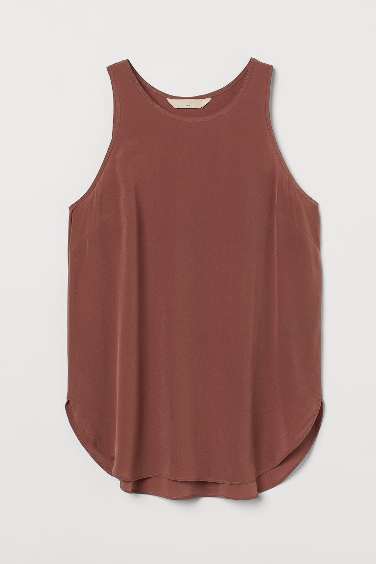 H & M - 真絲縐紗上衣 - 紅色