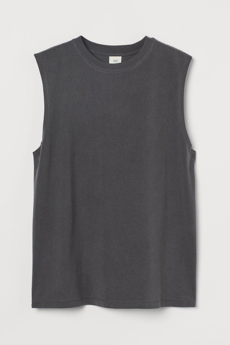 H & M - 棉質無袖上衣 - 灰色