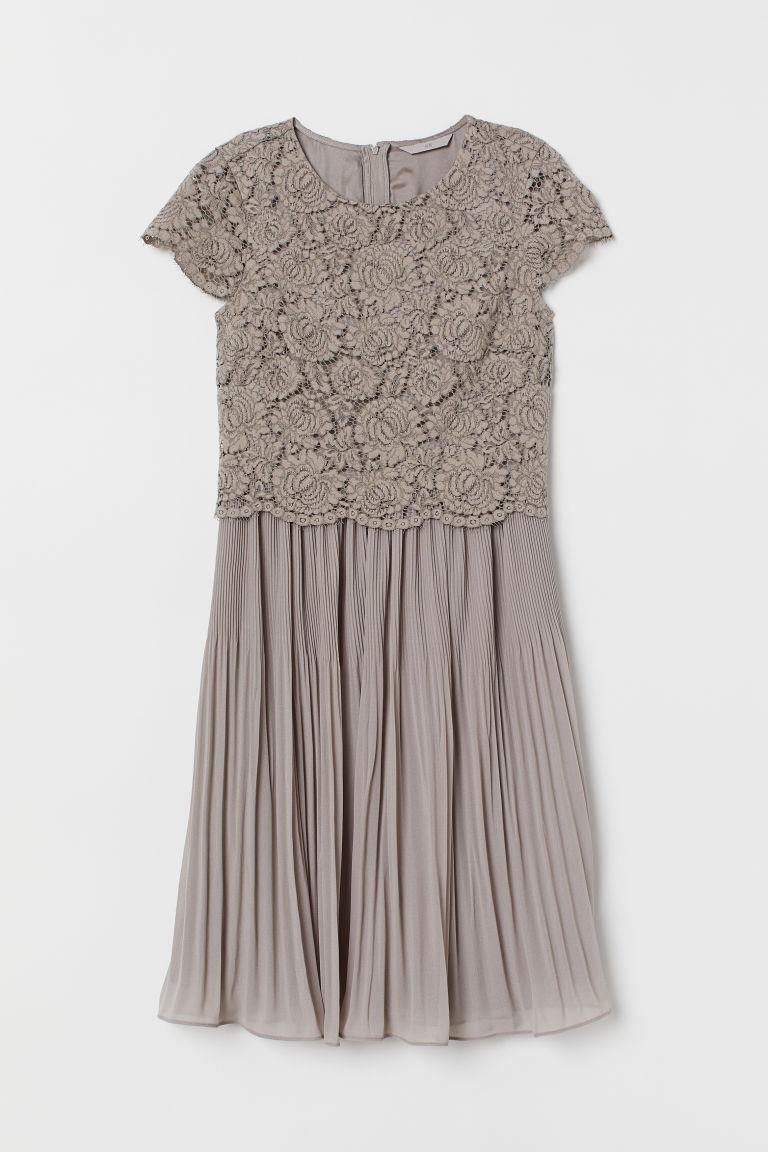 H & M - 百褶洋裝 - 灰色