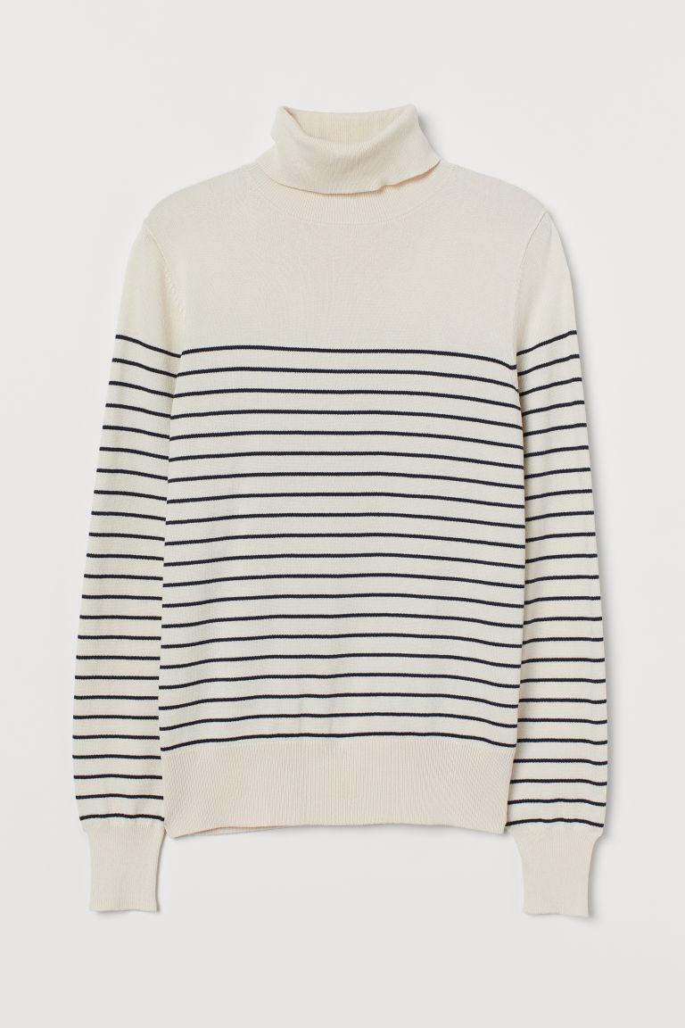 H & M - 圓高領精織套衫 - 米黃色
