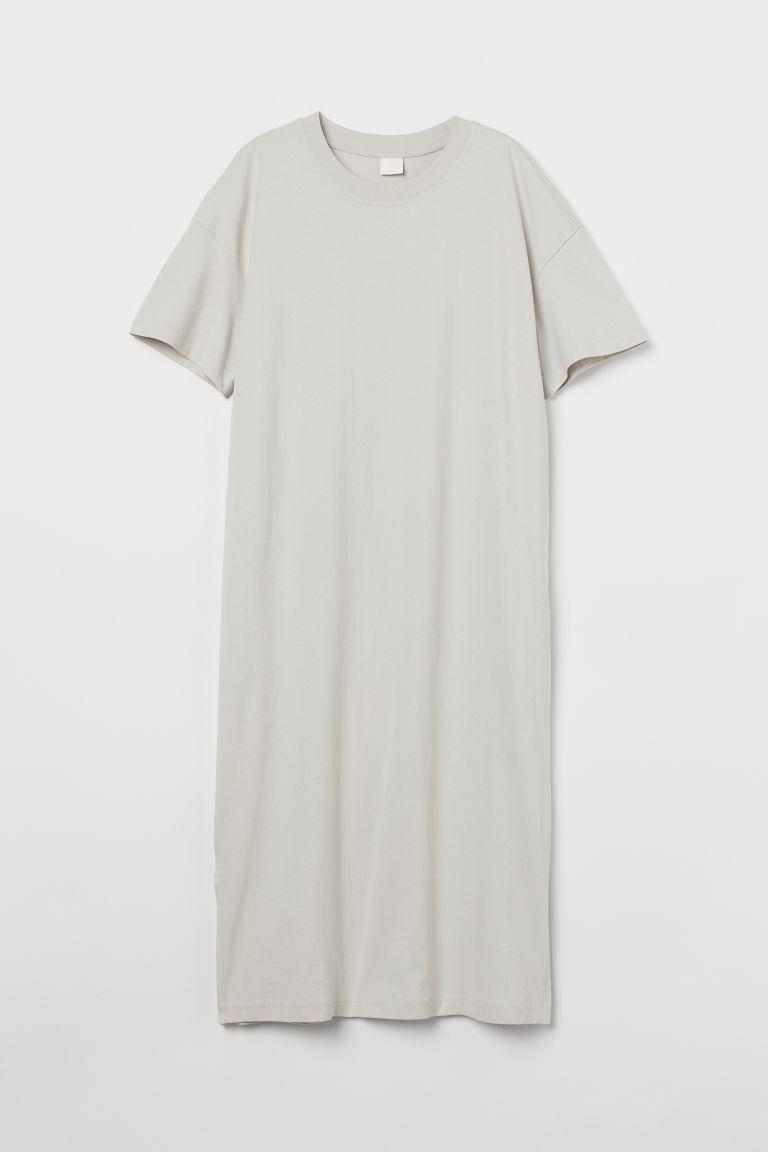 H & M - 中長版T恤洋裝 - 綠色