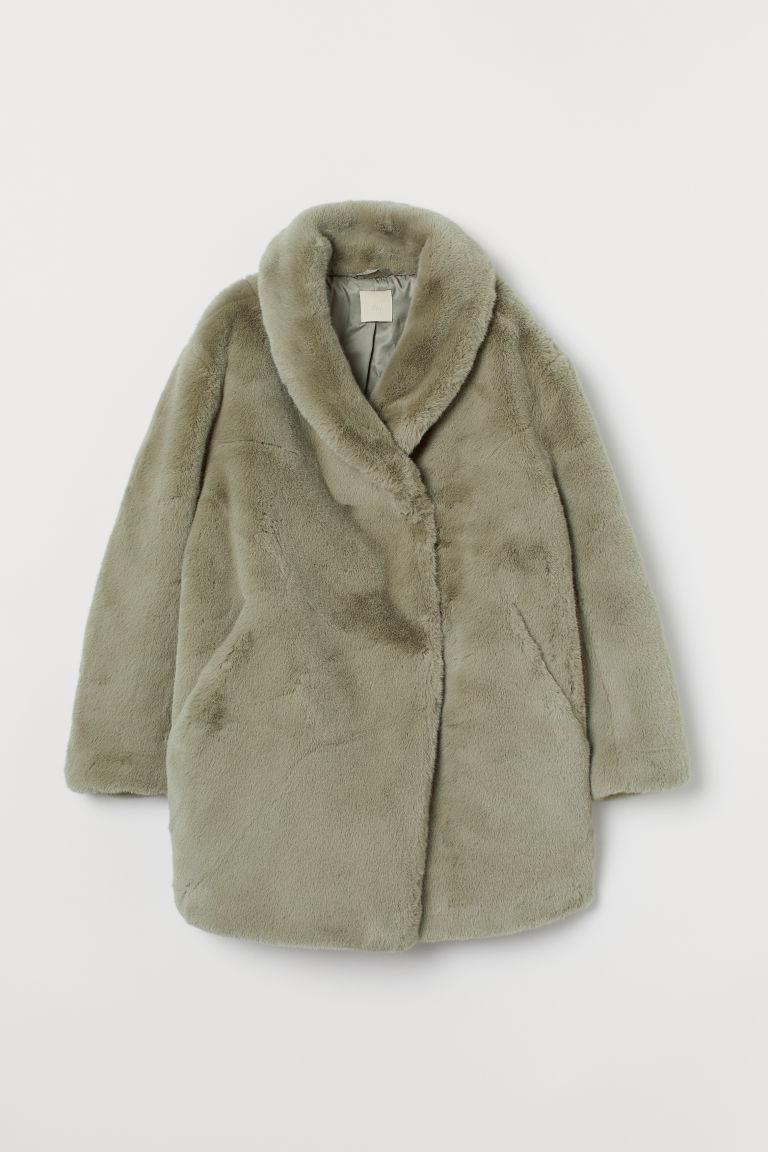 H & M - 仿毛泰迪熊大衣 - 米黃色