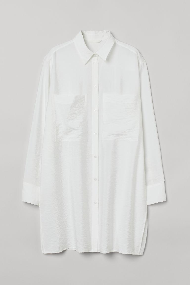 H & M - 長版襯衫 - 白色