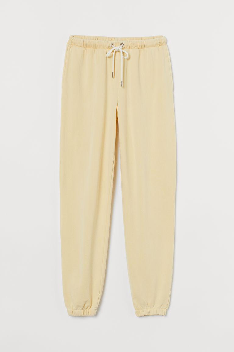H & M - 棉質混紡慢跑褲 - 黃色