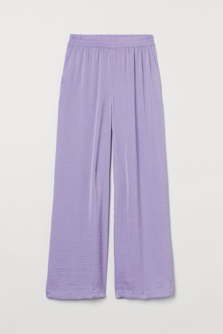 H & M - 綢緞寛管褲 - 紫色
