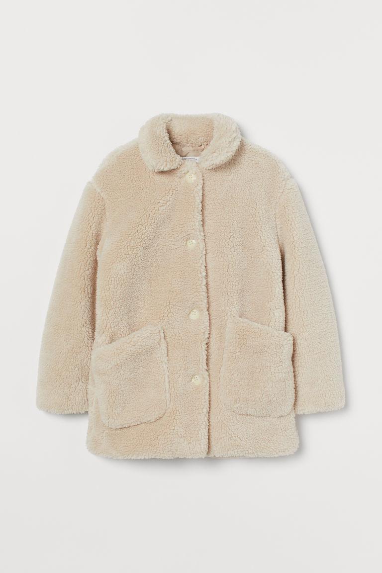 H & M - 泰迪熊大衣 - 米黃色