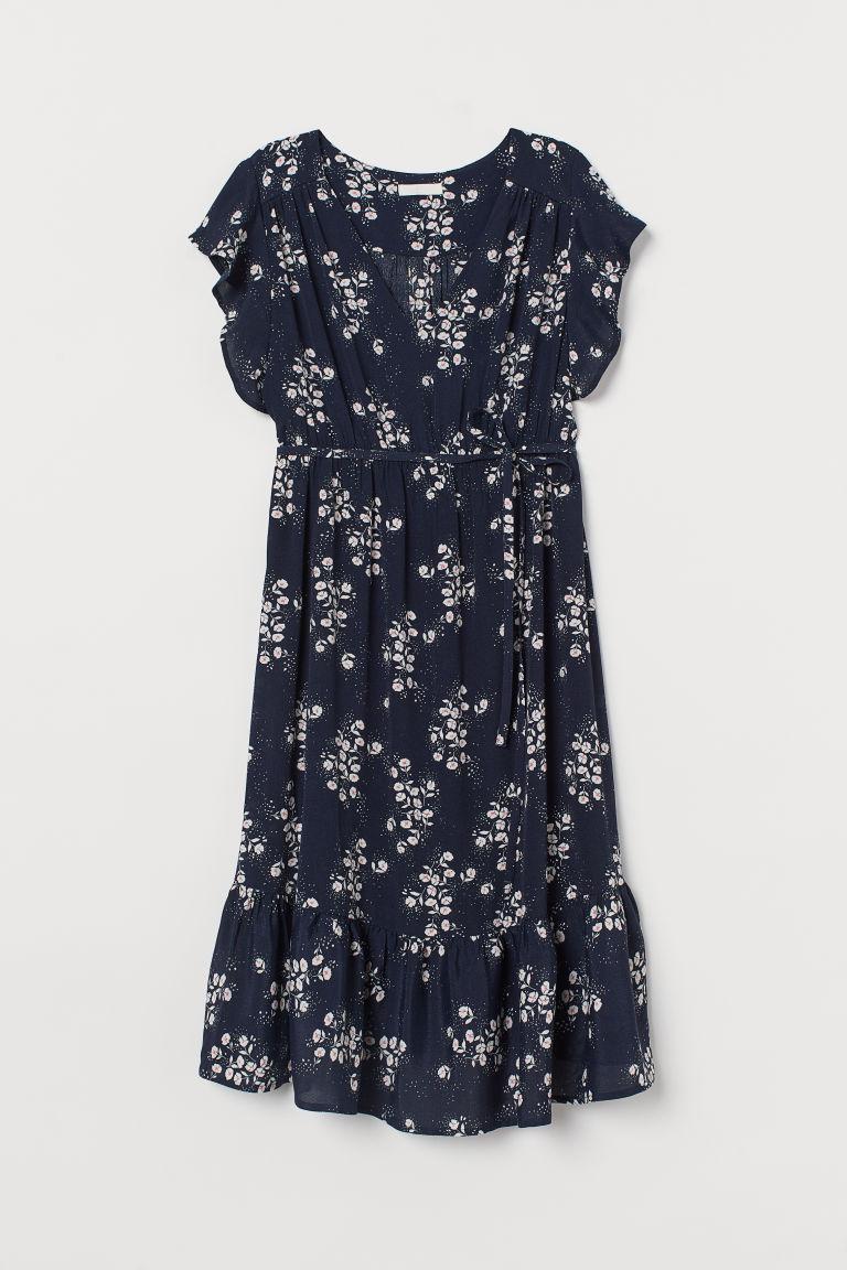 H & M - MAMA 蝴蝶袖洋裝 - 藍色