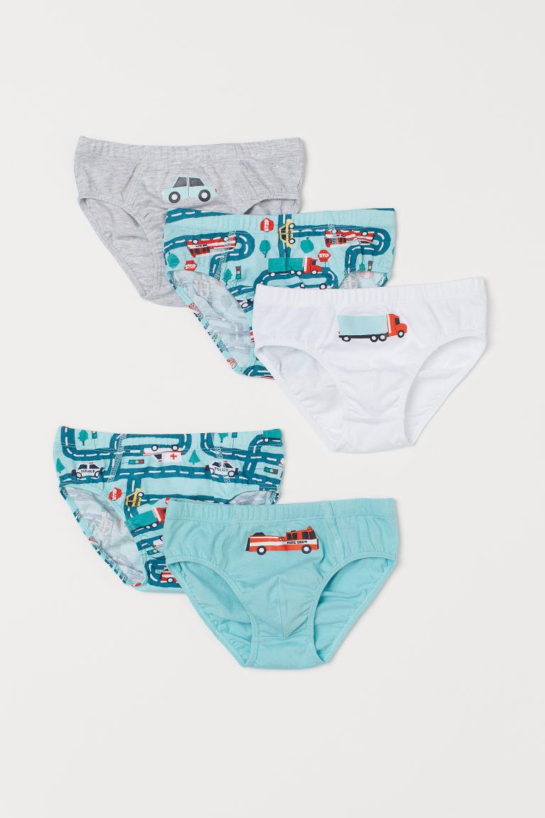 H & M - 5件入棉質男孩短內褲 - 藍綠色