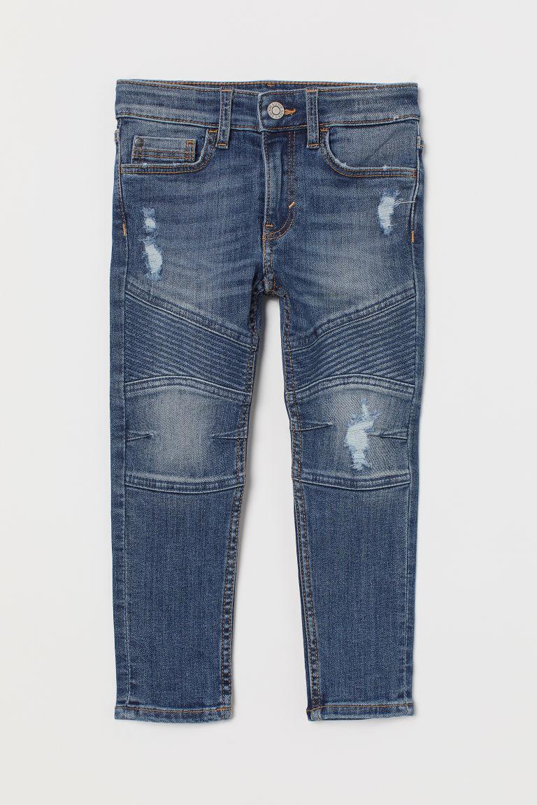H & M - 窄管騎士牛仔褲 - 藍色