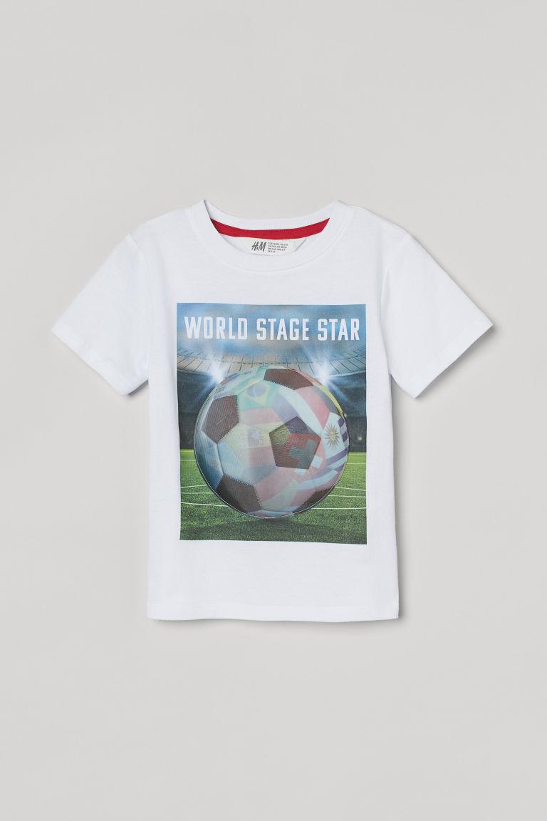 H & M - 互動式圖案T恤 - 白色