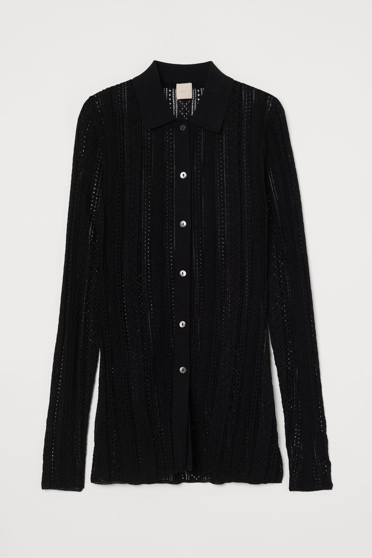 H & M - 蕾絲織紋精織女衫 - 黑色