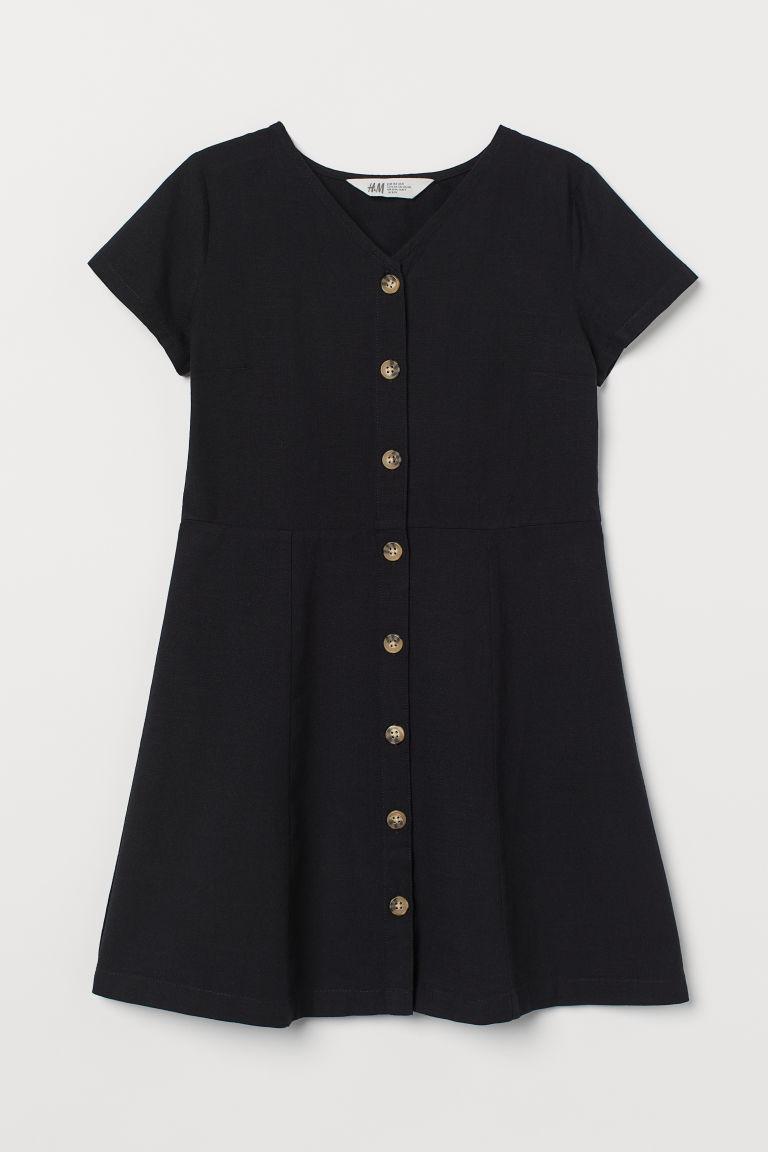 H & M - 棉質洋裝 - 黑色
