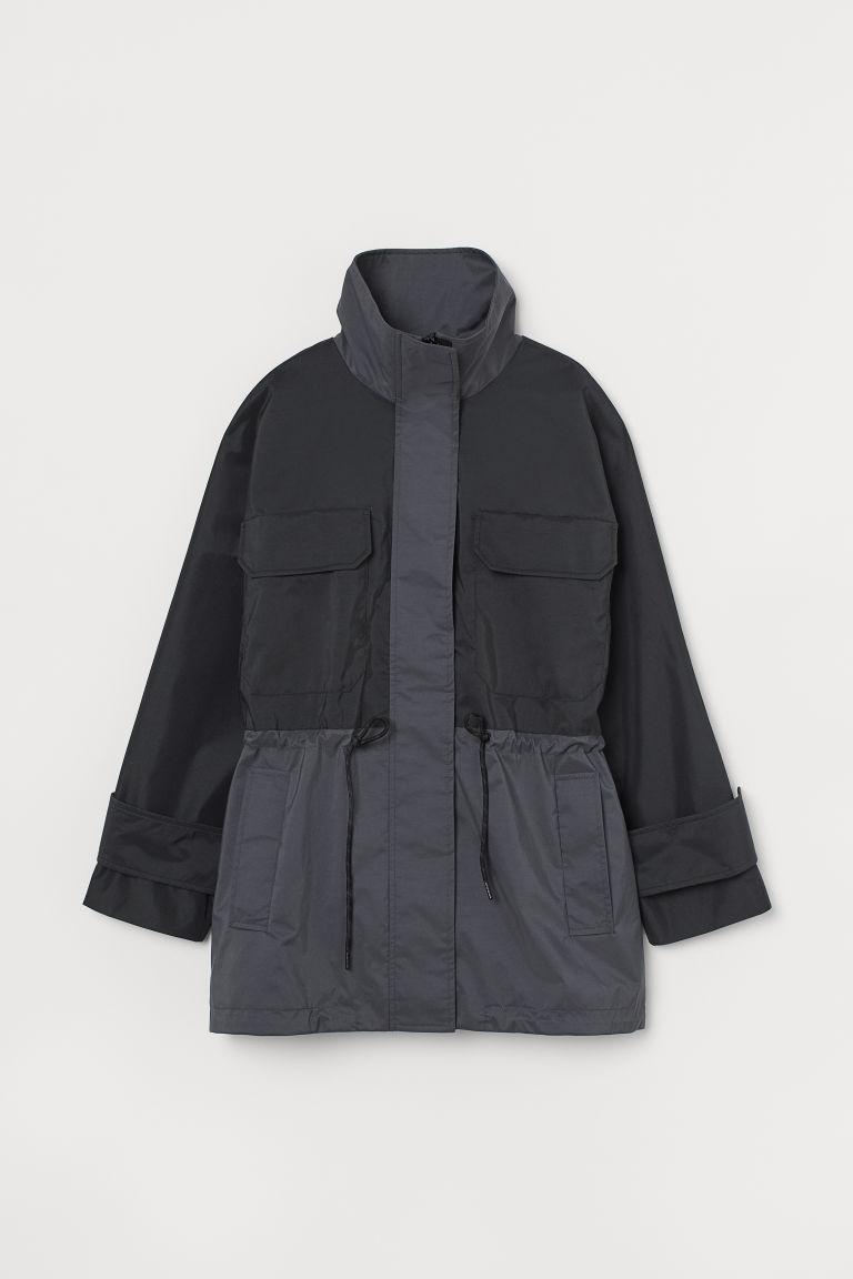 H & M - 寬鬆軍外套 - 黑色