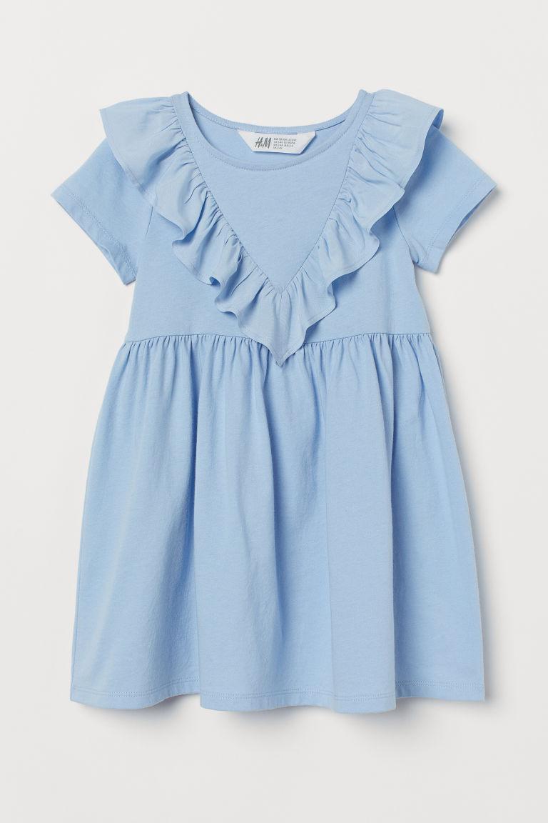 H & M - 荷葉邊洋裝 - 藍色