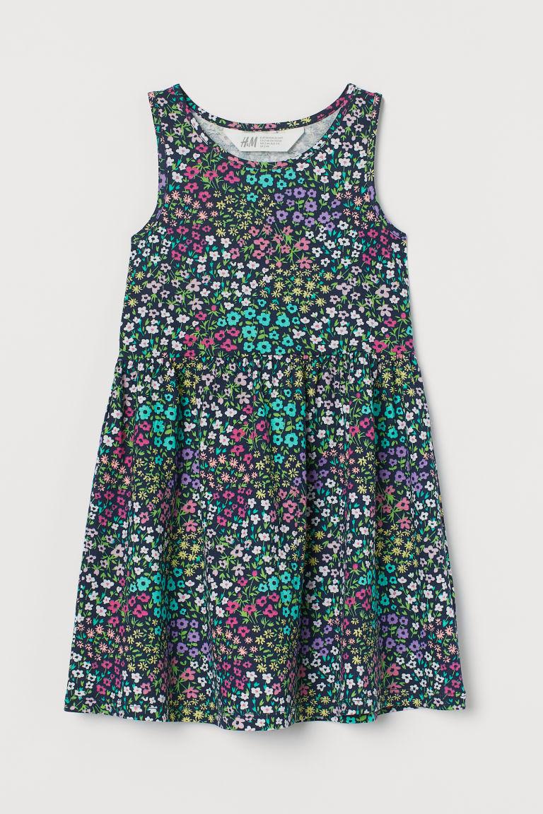 H & M - 印花平紋洋裝 - 藍色