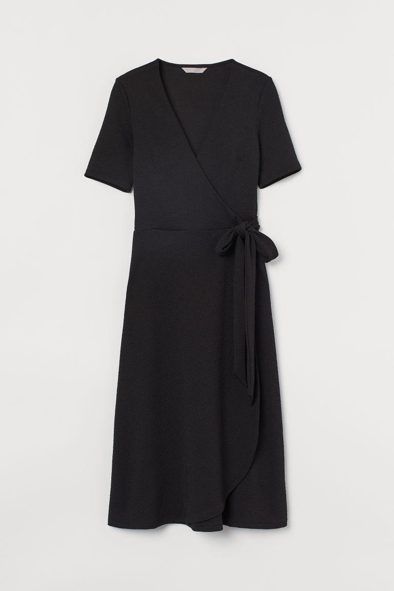 H & M - 平紋交疊式洋裝 - 黑色