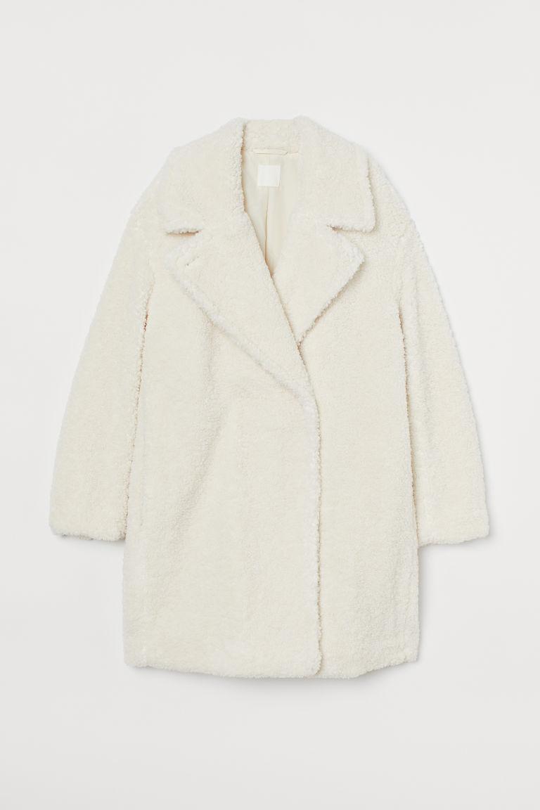 H & M - 仿綿羊大衣 - 白色