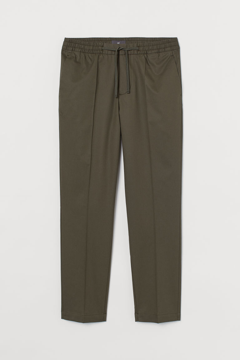 H & M - 貼身九分慢跑褲 - 綠色