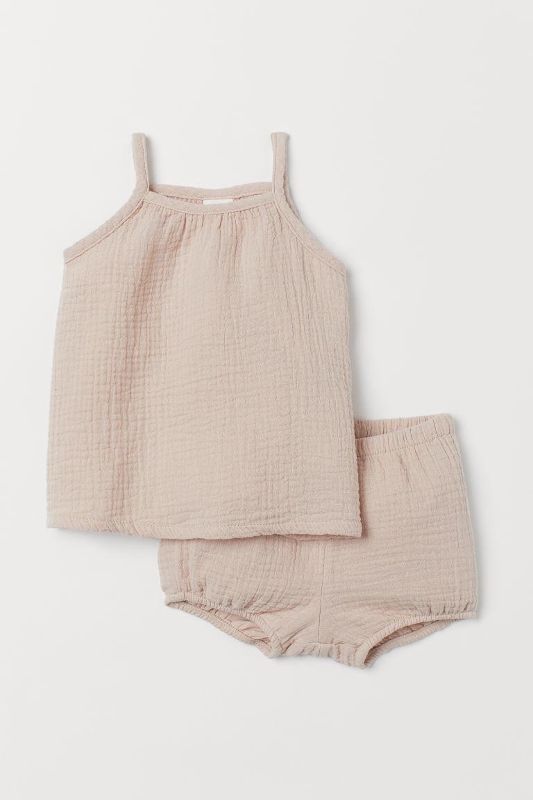 H & M - 背心上衣和燈籠褲 - 米黃色