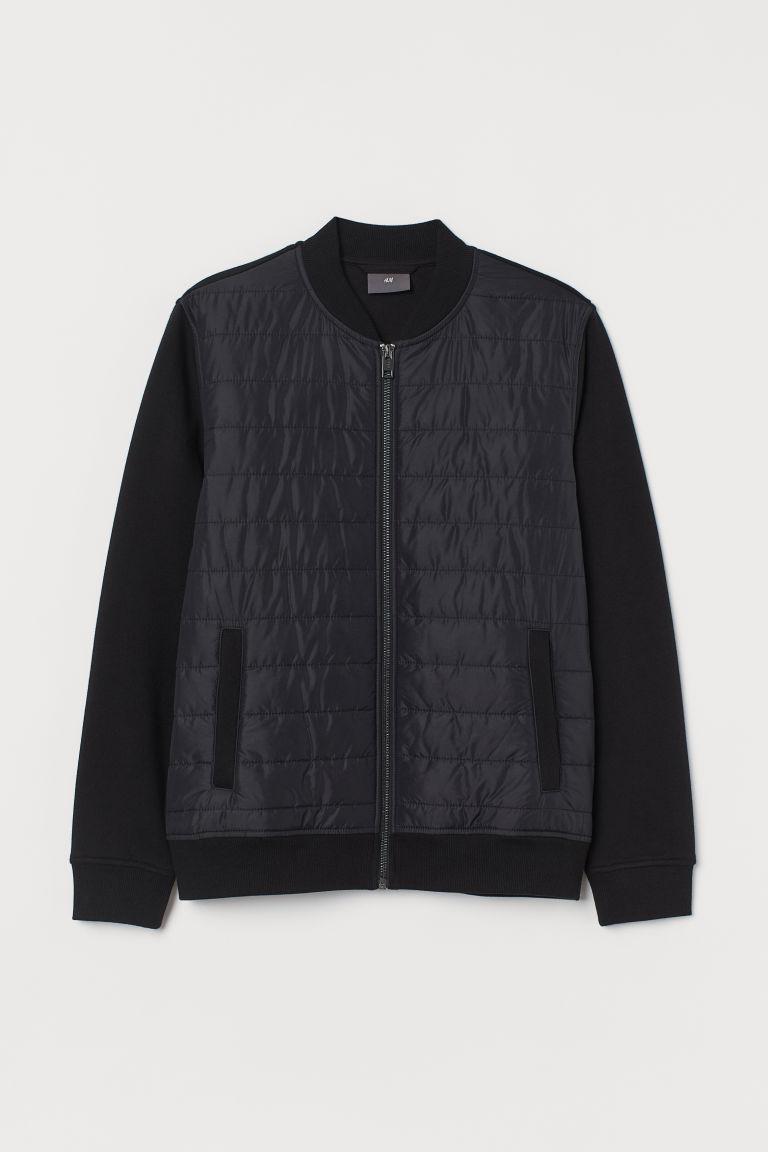 H & M - 車棉飛行員外套 - 黑色