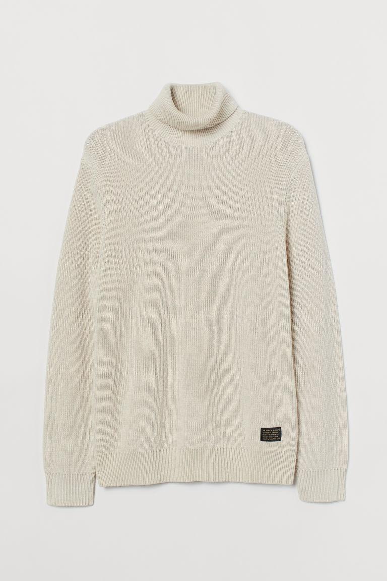 H & M - 棉質圓高領套衫 - 米黃色