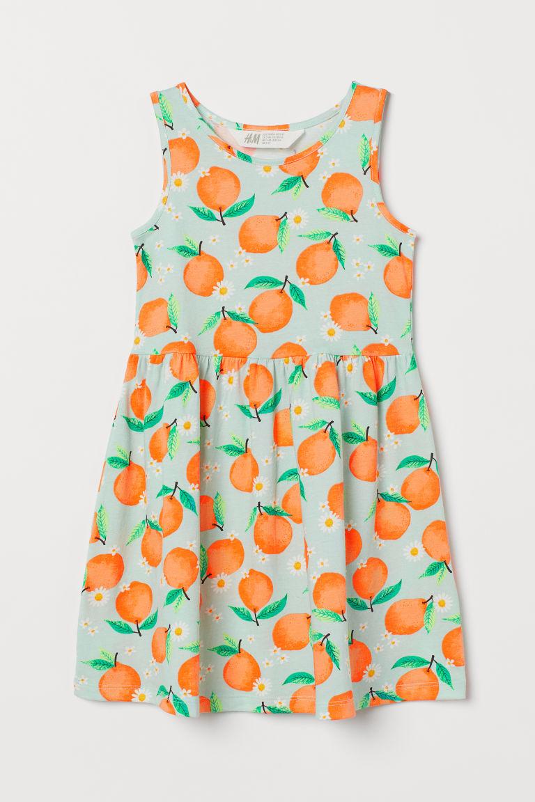 H & M - 印花平紋洋裝 - 藍綠色