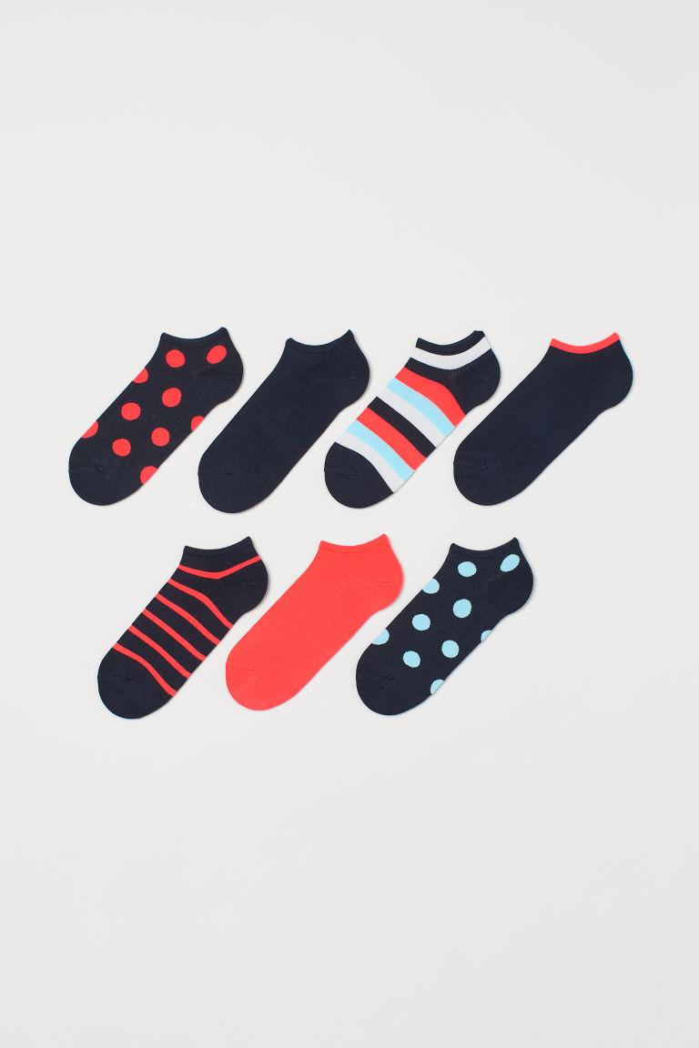 H & M - 7雙入船型襪 - 紅色