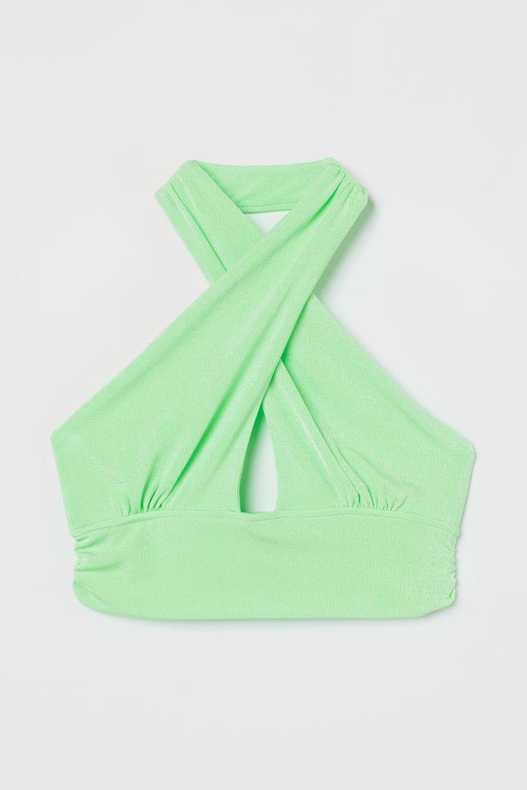 H & M - 短版絲絨繞頸上衣 - 綠色