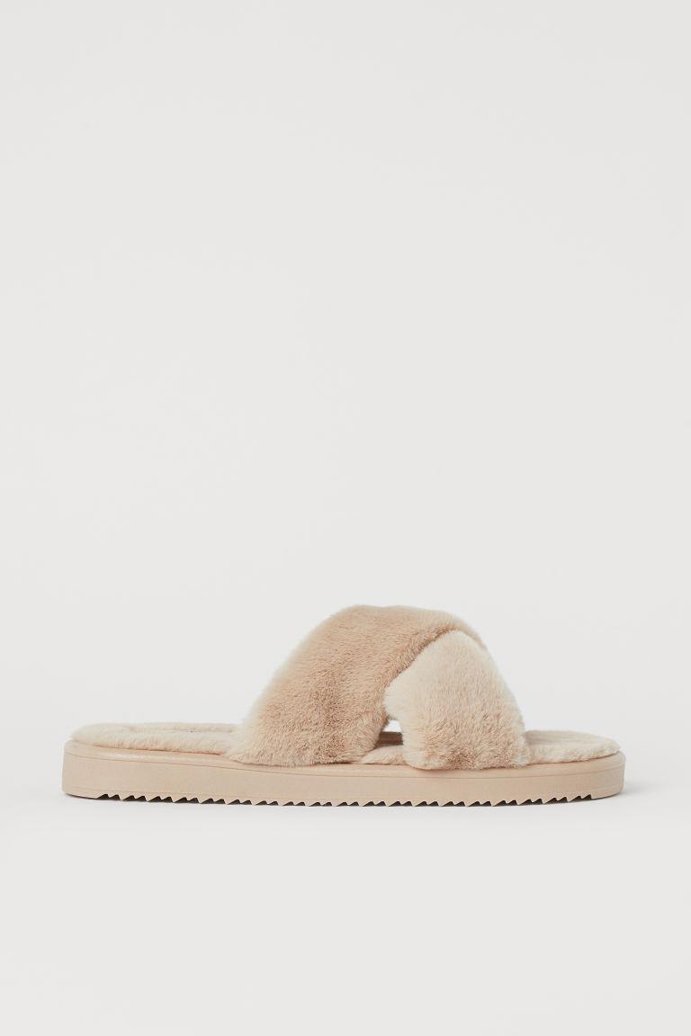 H & M - 仿毛涼鞋 - 米黃色