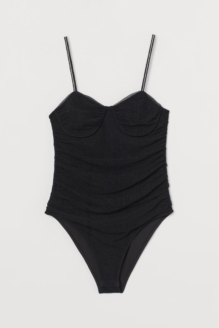 H & M - 薄紗緊身連身衣 - 黑色