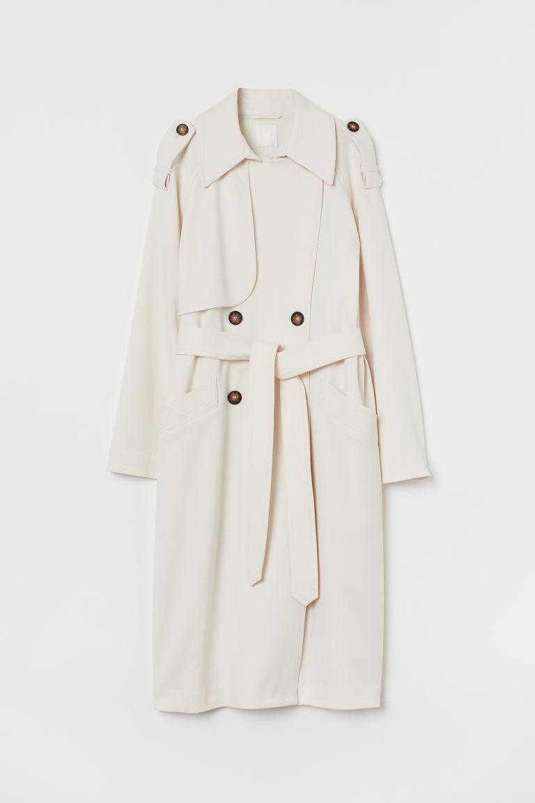H & M - 雙排扣風衣 - 白色