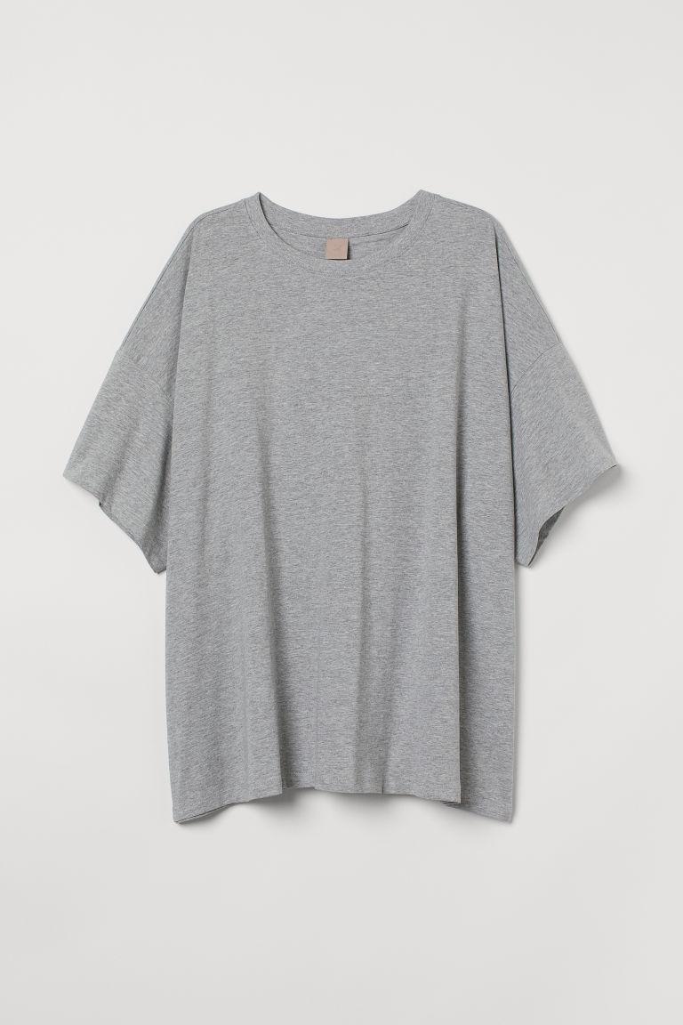 H & M - H & M+ 莫代爾混紡T恤 - 灰色