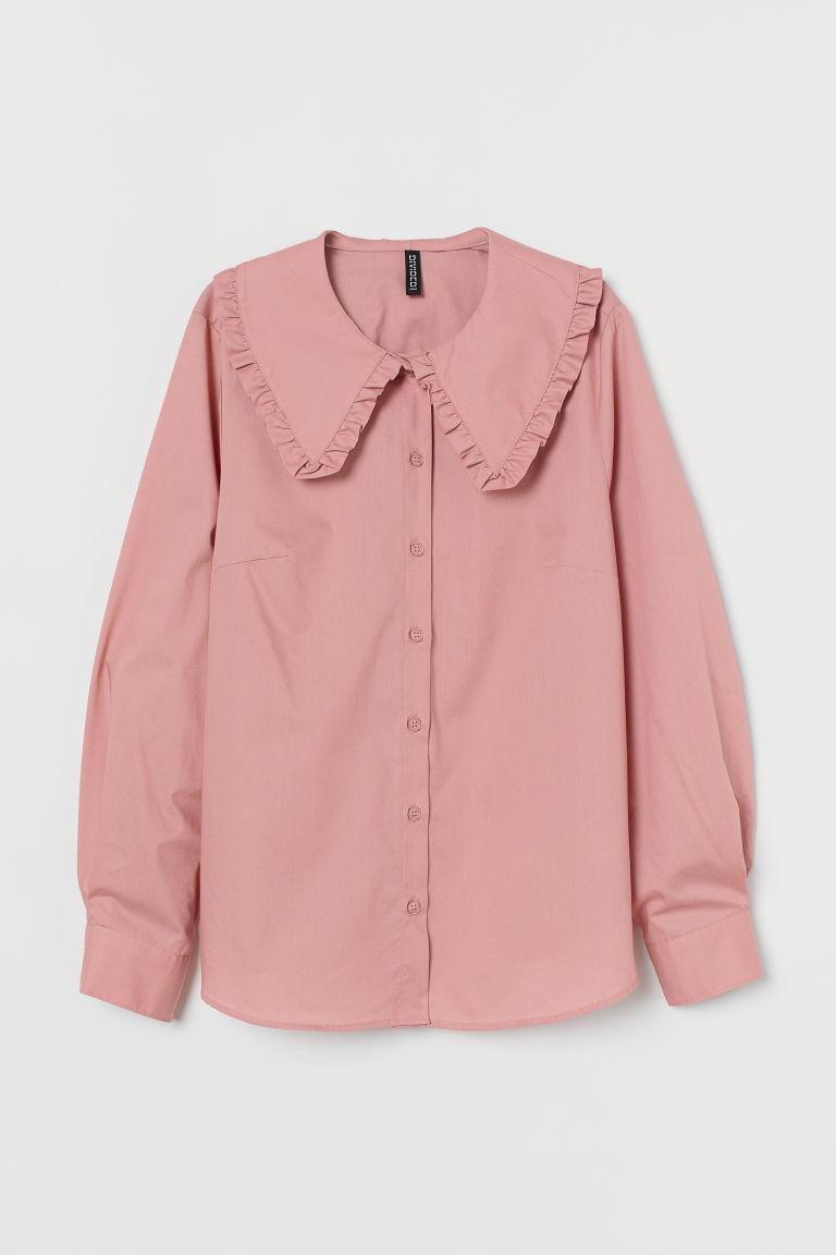 H & M - 寬衣領襯衫 - 粉紅色