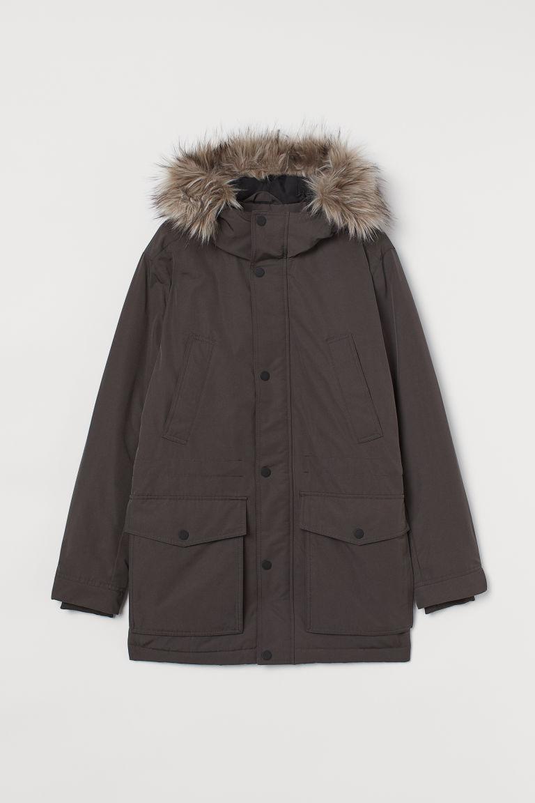 H & M - 連帽鋪棉軍外套 - 灰色