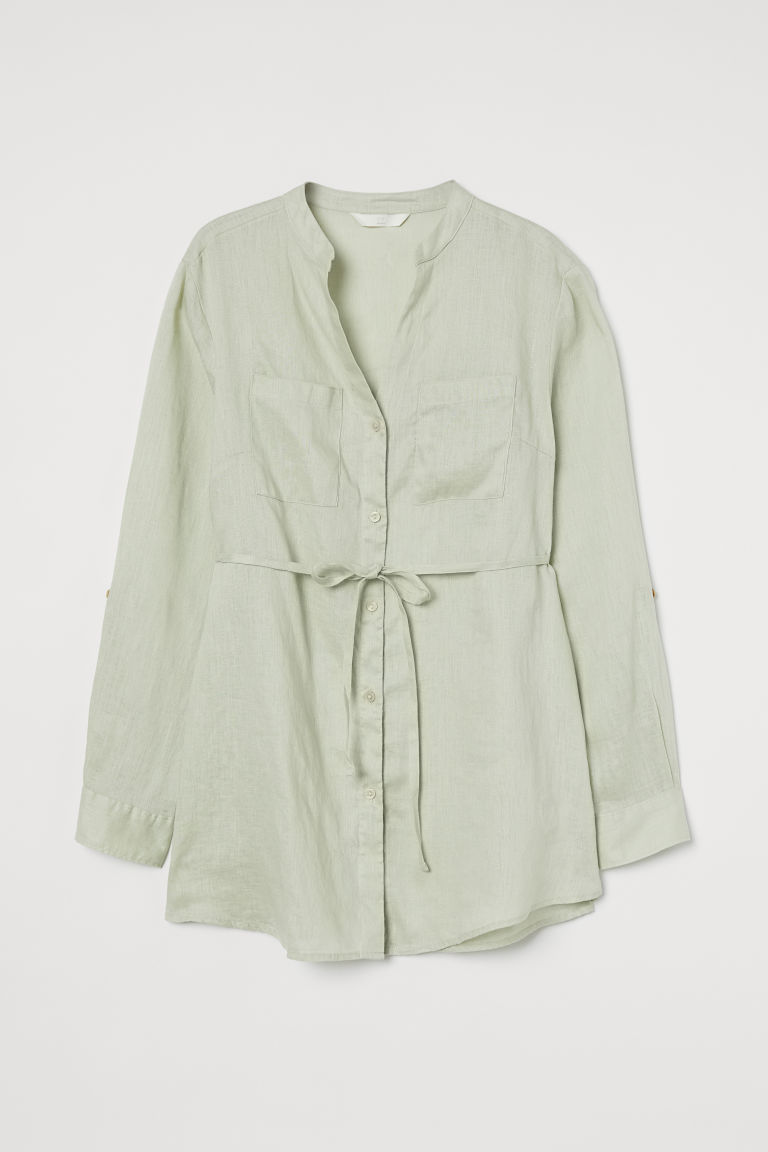 H & M - MAMA 亞麻女衫 - 綠色