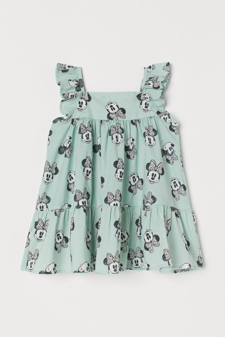 H & M - 印花棉質洋裝 - 藍綠色