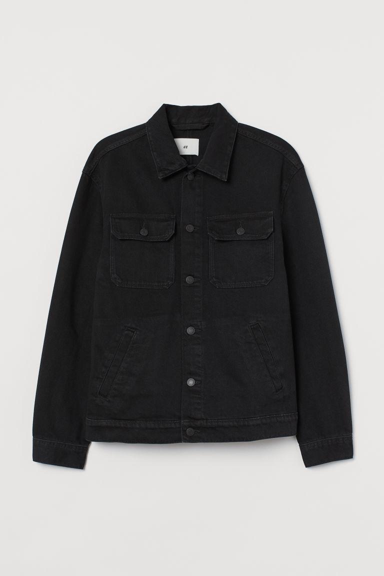 H & M - 棉質丹寧外套 - 黑色