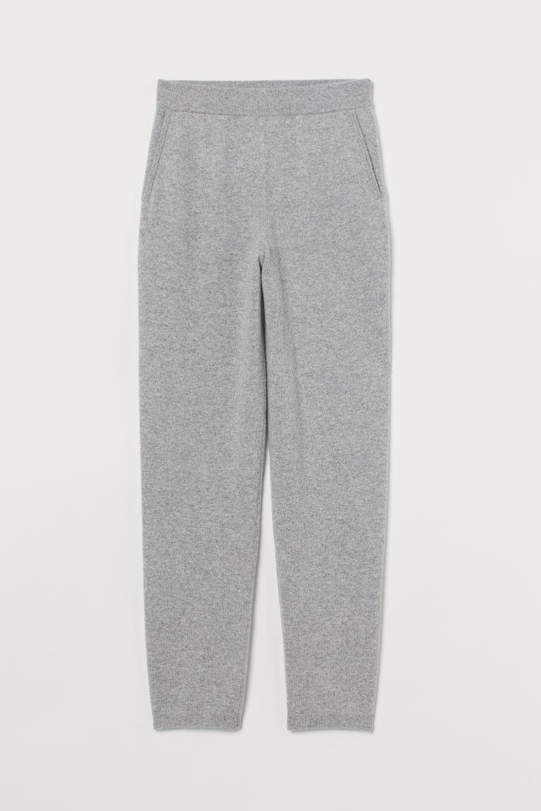 H & M - 喀什米爾羊毛精織慢跑褲 - 灰色