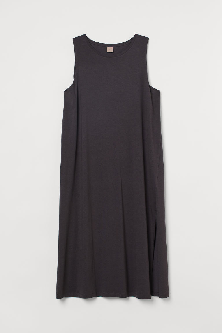 H & M - H & M+ 開衩平紋洋裝 - 灰色