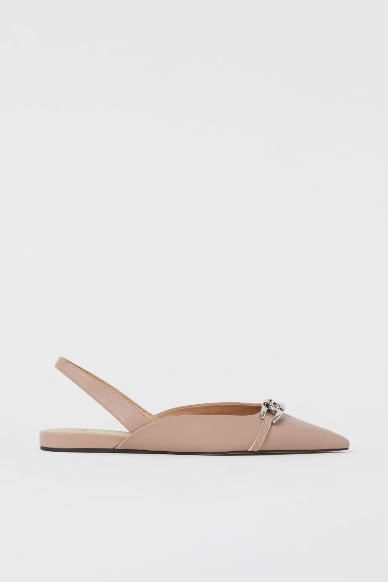 H & M - 鏈飾露跟鞋 - 米黃色