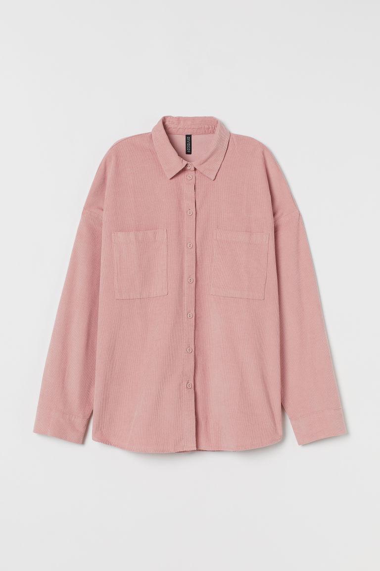 H & M - 絨布襯衫 - 粉紅色