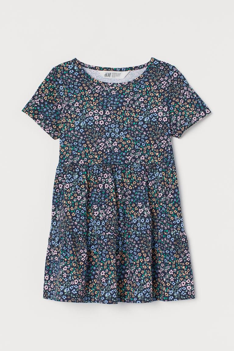 H & M - 圖案棉質洋裝 - 藍色