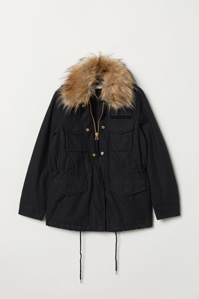 H & M - 短版軍外套 - 黑色