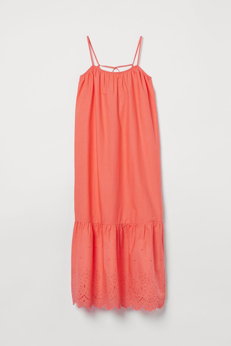 H & M - 府綢棉及地長洋裝 - 橙色