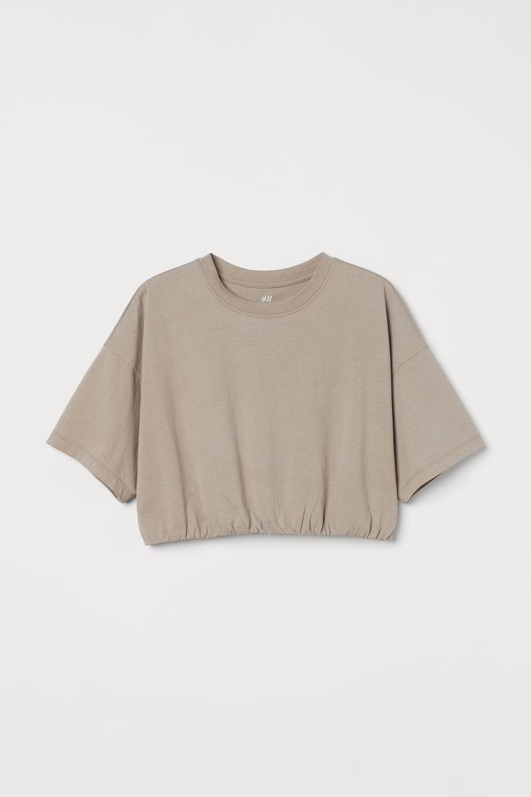 H & M - 短版運動上衣 - 褐色