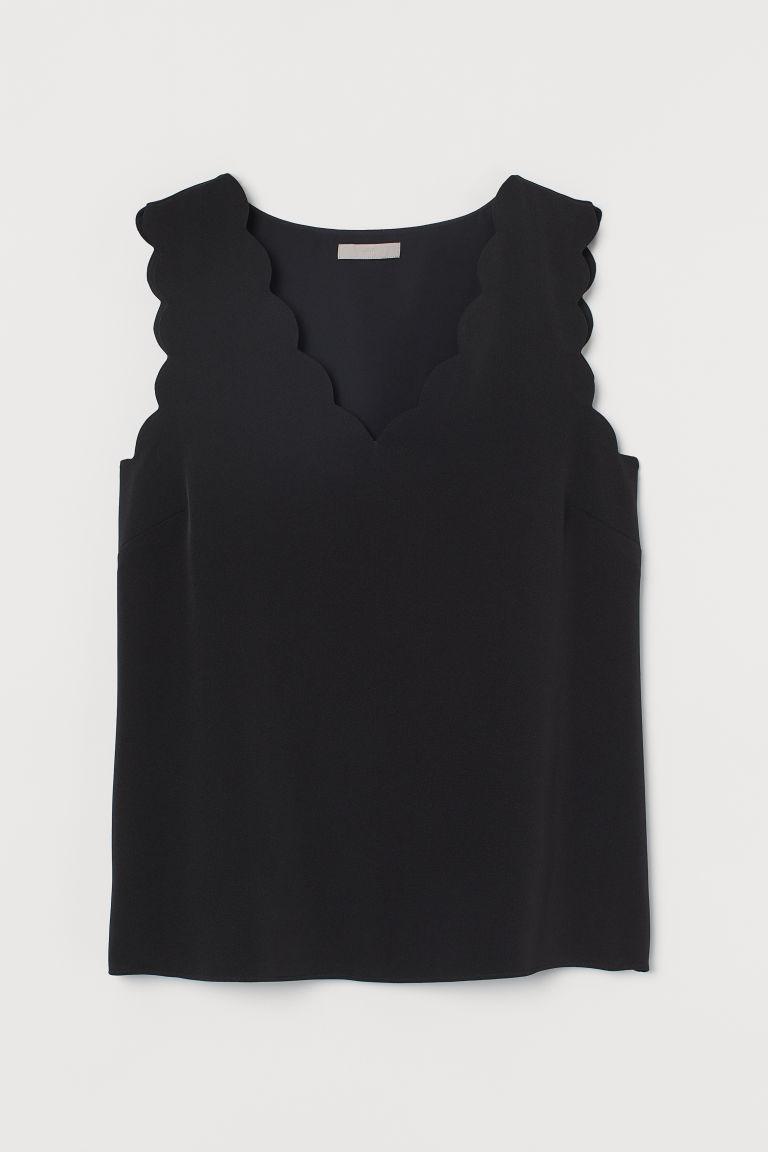 H & M - 小波浪邊上衣 - 黑色
