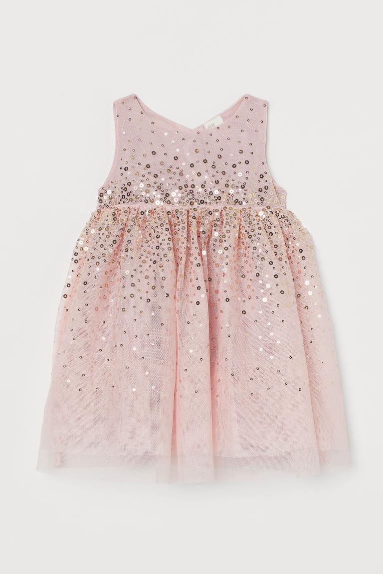 H & M - 亮片薄紗洋裝 - 粉紅色