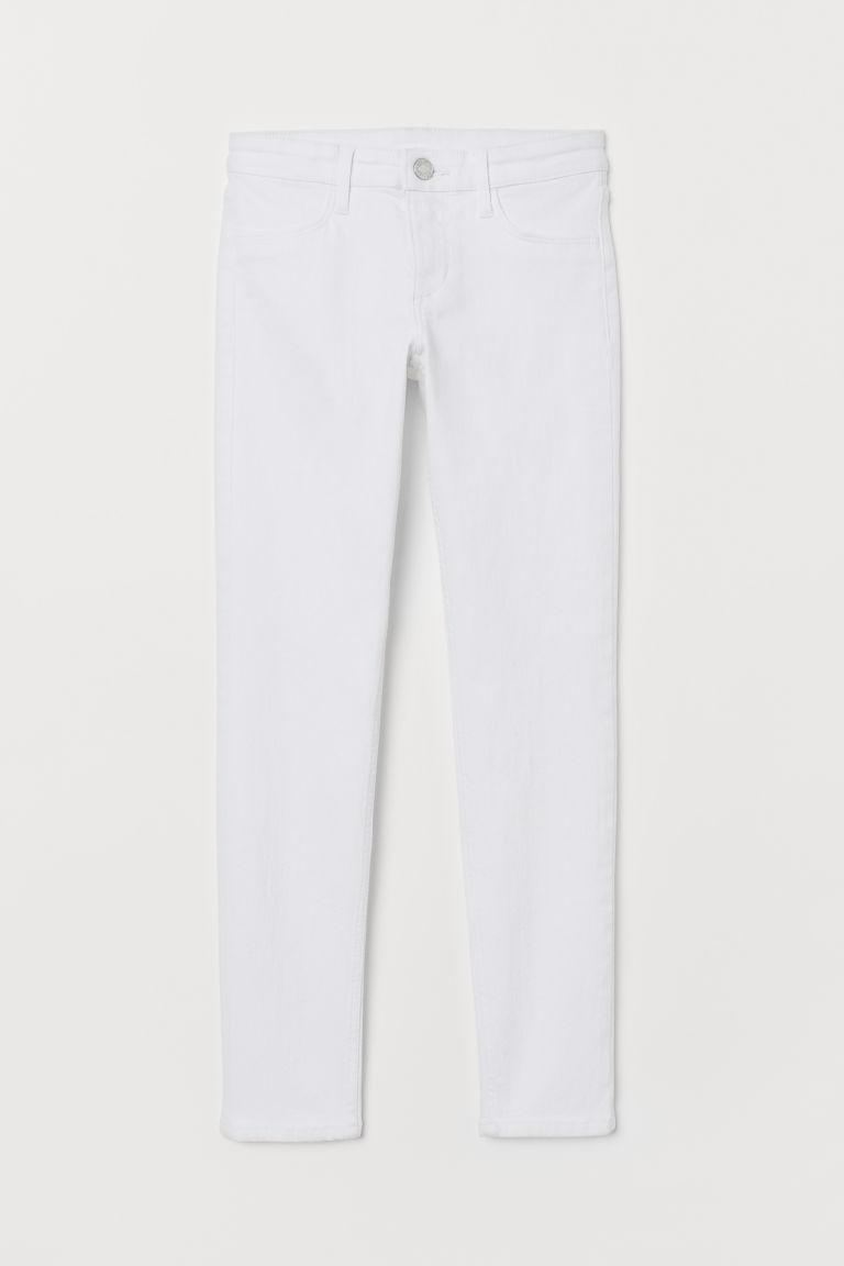 H & M - 窄管牛仔褲 - 白色