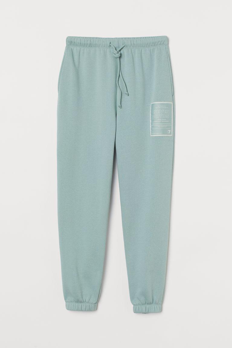 H & M - 九分慢跑褲 - 藍綠色
